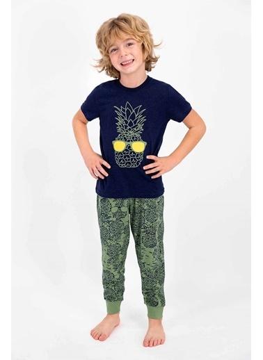 Roly Poly Rolypoly Pineapple Lacivert Mavi Genç Erkek Kısa Kol Pijama Takımı Lacivert